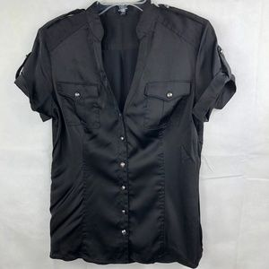 Express Short Sleeve Black Satin Button Up Size M